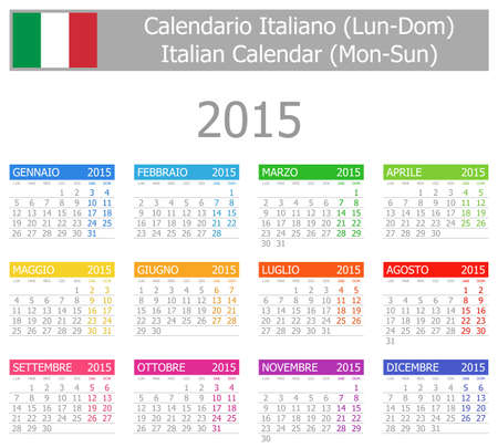 2015 Italian Type-1 Calendar Mon-Sun on white background Vector