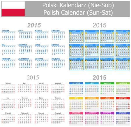 arial: 2015 Polish Mix Calendar Sun-Sat on white background Illustration