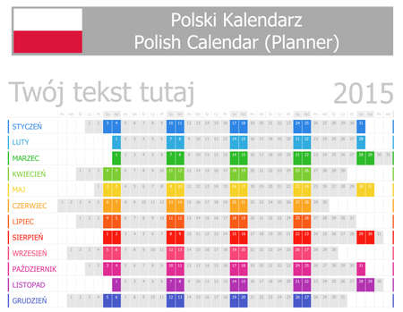 2015 Polish Planner Calendar with Horizontal Months on white background Stock Vector - 24810127