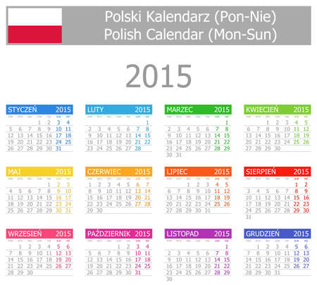 starting a business: 2015 Polish Type-1 Calendar Mon-Sun on white background