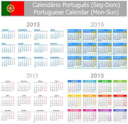 arial: 2015 Portuguese Mix Calendar Mon-Sun on white background