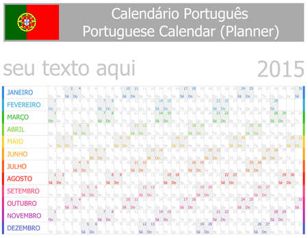 starting a business: 2015 Portuguese Planner-2 Calendar with Horizontal Months on white background Illustration