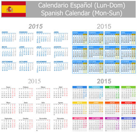 2015 Espa�ol Mix Calendario lunes a domingo en el fondo blanco Vectores