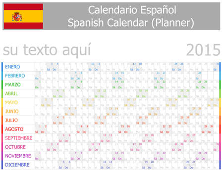 2015 Spanish Planner-2 Calendar with Horizontal Months on white background Vector