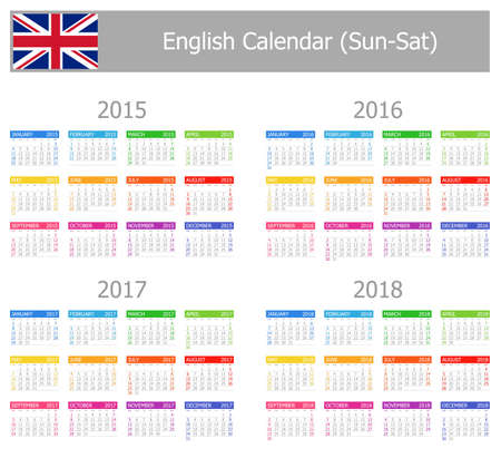 starting a business: 2015-2018 Type-1 English Calendar Sun-Sat on white background