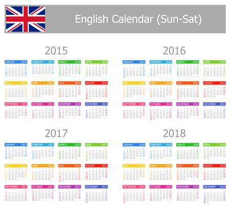 2015-2018 Type-1 English Calendar Sun-Sat on white background