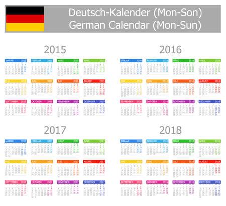 2015-2018 Tipo-1 Calendario German lunes a domingo en el fondo blanco Vectores