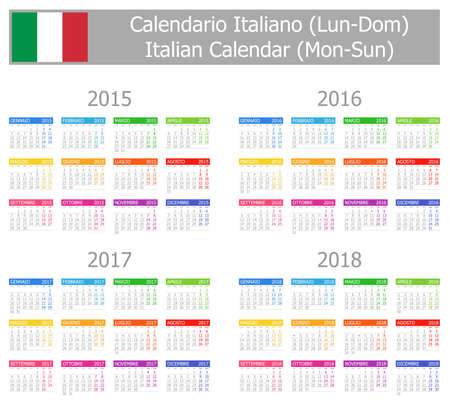 2015-2018 Type-1 Italian Calendar Mon-Sun on white background