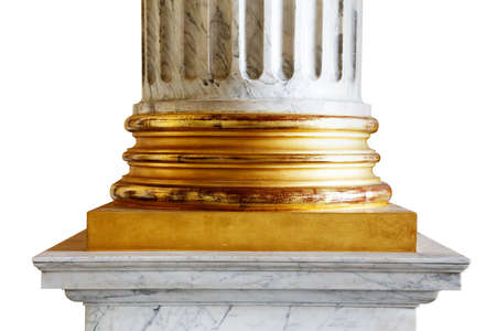 A close-up of an ancient white marble classical column with gold incrustations Stock Photo - 25043070