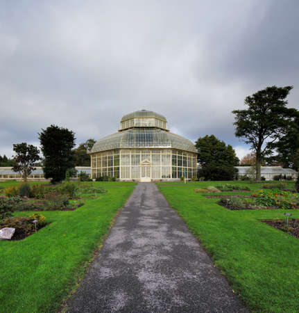 The main glasshouse of The National Botanic Gardens in Dublin, Ireland  Built in 1884 when the previous glasshouse was damaged in a storm photo
