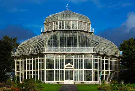 The main glasshouse of The National Botanic Gardens in Dublin, Ireland  Built in 1884 when the previous glasshouse was damaged in a storm