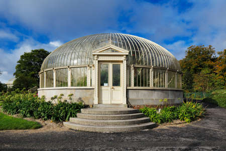 dublin ireland: The side entrance to the long glasshouse of The National Botanic Gardens in Dublin, Ireland