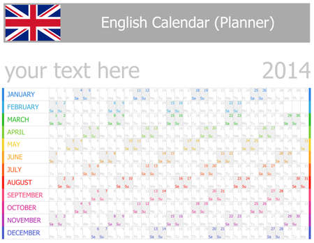 2014 English Planner-2 Calendar with Horizontal Months on white background Vector