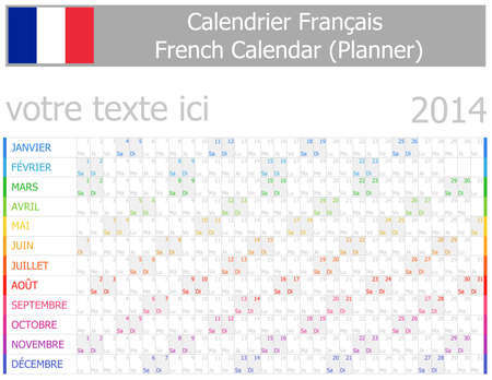 2014 French Planner-2 Calendar with Horizontal Months on white background Vector