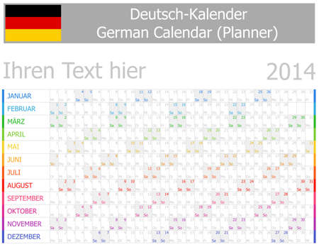 2014 German Planner-2 Calendar with Horizontal Months on white background Vector
