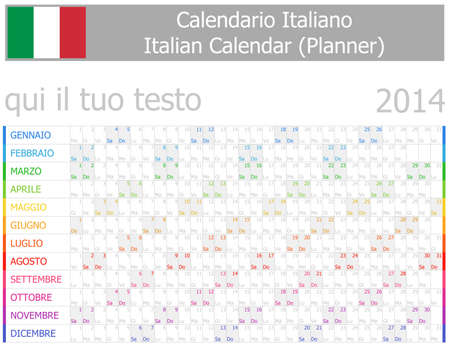 2014 Italian Planner-2 Calendar with Horizontal Months on white background Vector