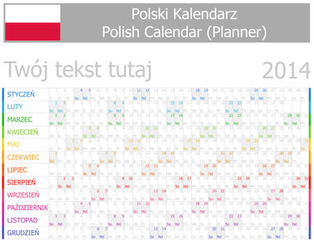 2014 Polish Planner-2 Calendar with Horizontal Months on white background Vector