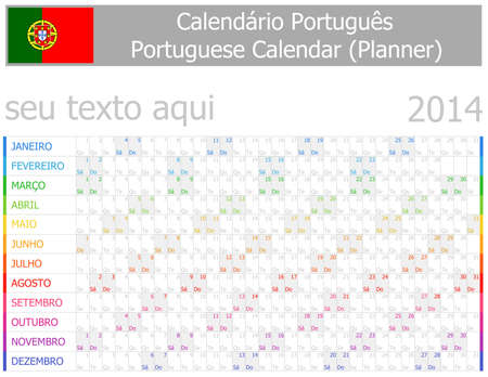 2014 Portuguese Planner-2 Calendar with Horizontal Months on white background Vector