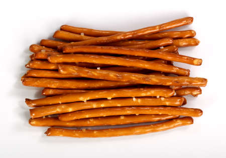 Salty bread finger snacks on a white background Stock Photo