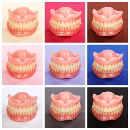 dental resin: Compilation of dentures on colorful paper backgrounds