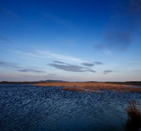 rippled: A view of a lake on a windy day at down Stock Photo
