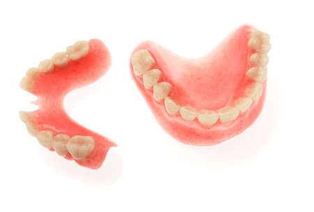 A set of dentures on a white background