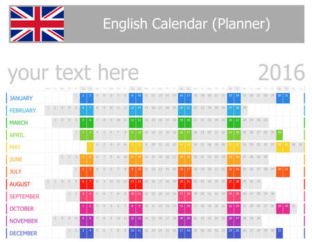 2016 English Planner Calendar with Horizontal Months on white background photo