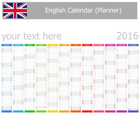 2016 English Planner Calendar with Vertical Months on white background photo