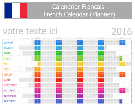 calendrier: 2016 French Planner Calendar with Horizontal Months on white background