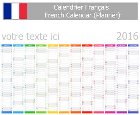 calendrier: 2016 French Planner Calendar with Vertical Months on white background
