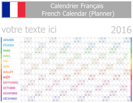 2016 French Planner-2 Calendar with Horizontal Months on white background photo