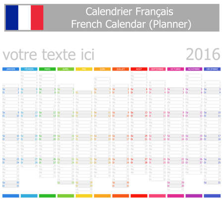 calendrier: 2016 French Planner-2 Calendar with Vertical Months on white background