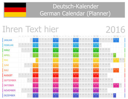 2016 German Planner Calendar with Horizontal Months on white background photo