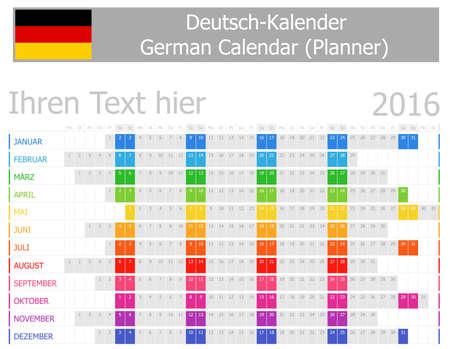 deutsch: 2016 German Planner Calendar with Horizontal Months on white background
