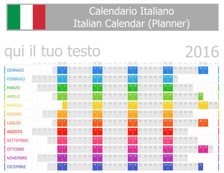 2016 Italian Planner Calendar with Horizontal Months on white background photo