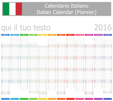 2016 Italian Planner-2 Calendar with Vertical Months on white background