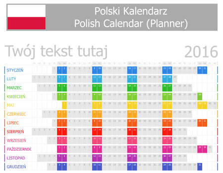 2016 Polish Planner Calendar with Horizontal Months on white background photo