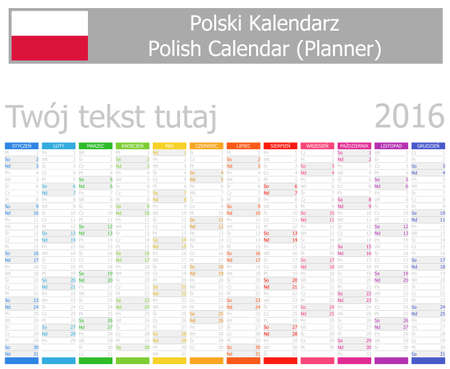 2016 Polish Planner Calendar with Vertical Months on white background photo