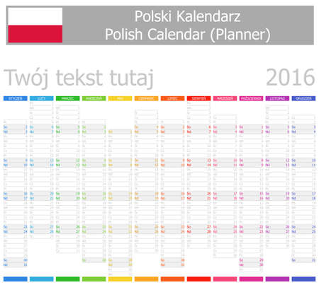 2016 Polish Planner-2 Calendar with Vertical Months on white background photo