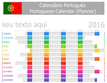2016 Portuguese Planner Calendar with Horizontal Months on white background photo