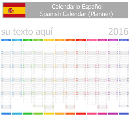 2016 Spanish Planner-2 Calendar with Vertical Months on white background photo