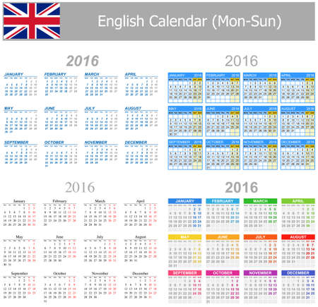 2016 English Mix Calendar Mon-Sun on white background