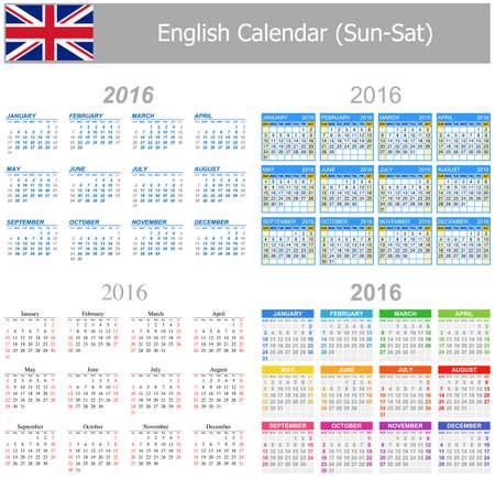 arial: 2016 English Mix Calendar Sun-Sat on white background