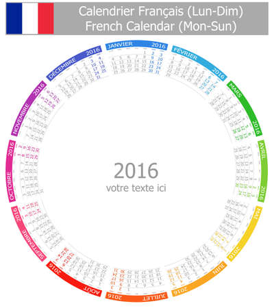calendrier: 2016 French Circle Calendar Mon-Sun on white background Stock Photo