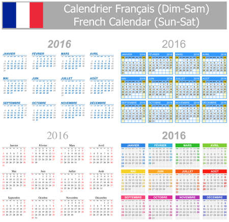 2016 French Mix Calendar Sun-Sat on white background Stock Photo