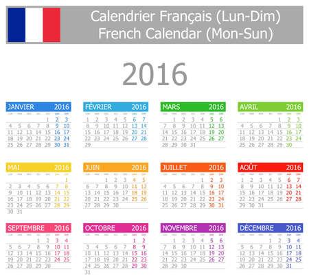 2016 French Type-1 Calendar Mon-Sun on white background Stock Photo