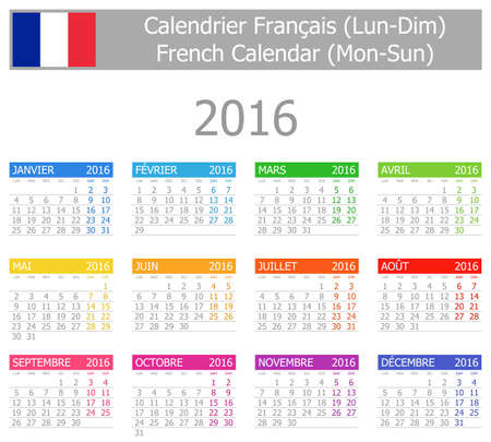 calendrier: 2016 French Type-1 Calendar Mon-Sun on white background Stock Photo