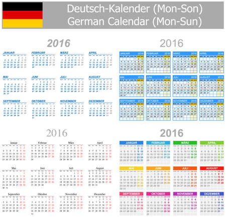 arial: 2016 German Mix Calendar Mon-Sun on white background