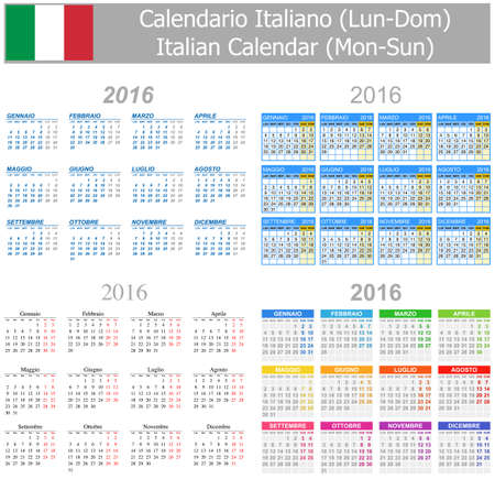 2016 Italian Mix Calendar Mon-Sun on white background