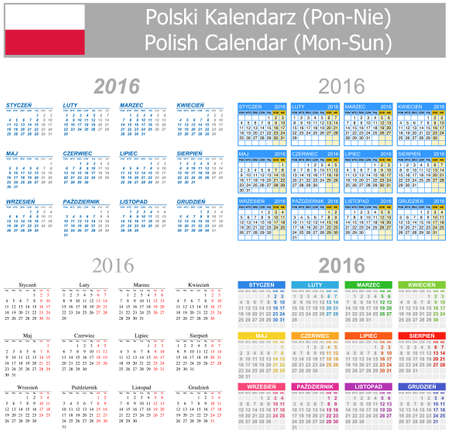 2016 Polish Mix Calendar Mon-Sun on white background